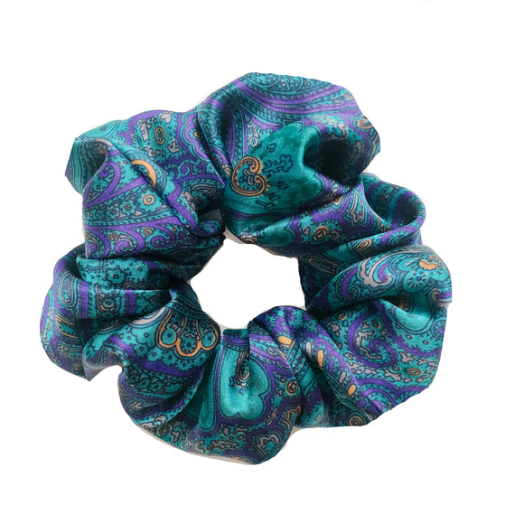 Aqua Paisley Satin Sleep Scrunchie