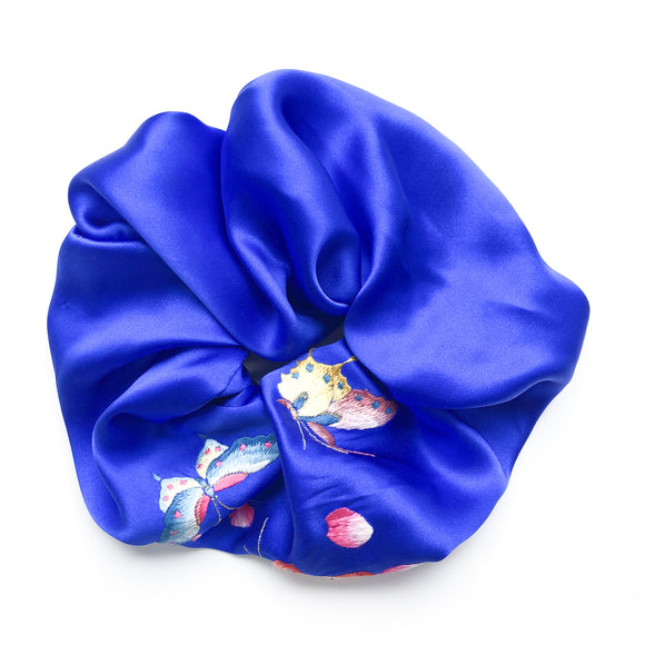 XXL Embroidered Indigo Silk Scrunchie