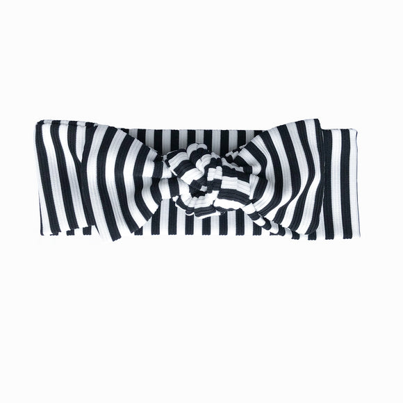 Newborn Black & White Stripe Knot Headband