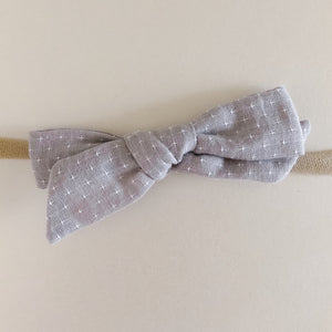 Grey Speckled Linen Bow Headband