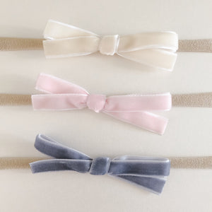 Mini Velvet Bow Headband (set of 3)