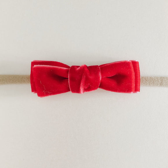 Red Mini Velvet Bow Headband