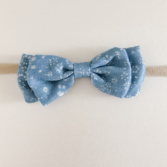 Floral Blue headband Bow