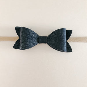 Black Mini Leather Bow Headband