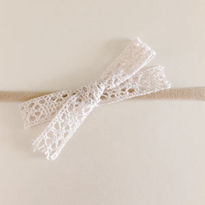 Cream Lace Bow Headband
