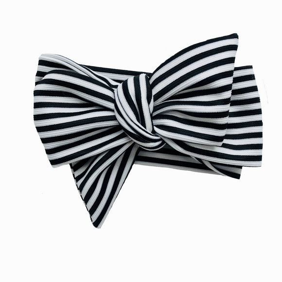 Black & White Striped Classic Baby Bow Headband (Walter)