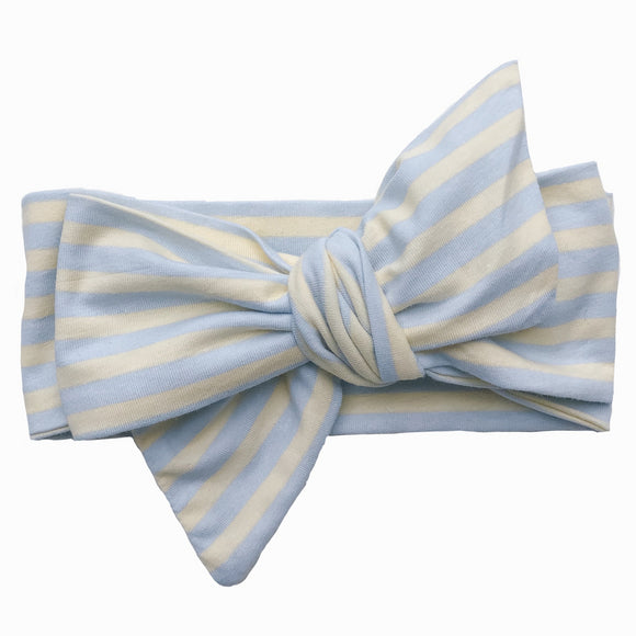 Yellow & Blue striped Classic Bow Headband (Bella)