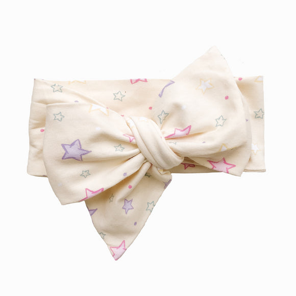 Baby Yellow Star Pattern Classic Bow Headband (Sunshine)