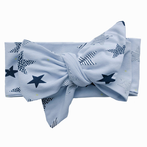 Blue Star Print Classic Bow Headband (Little dipper)