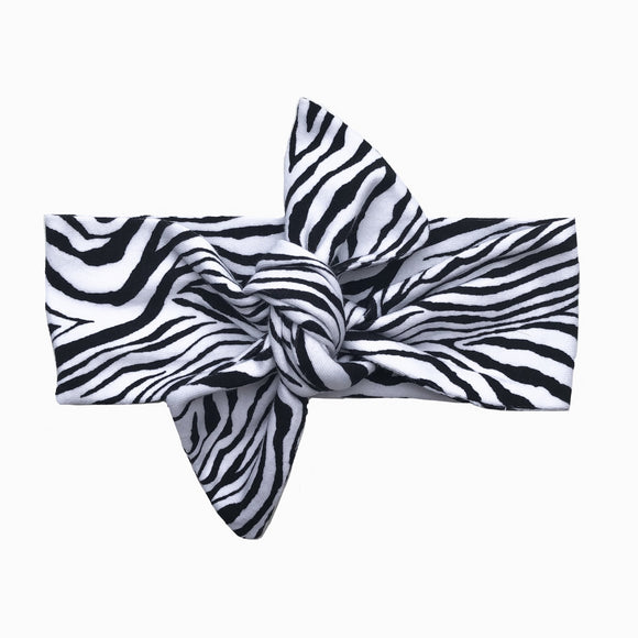 Newborn Mini Zebra Print Knot Headband