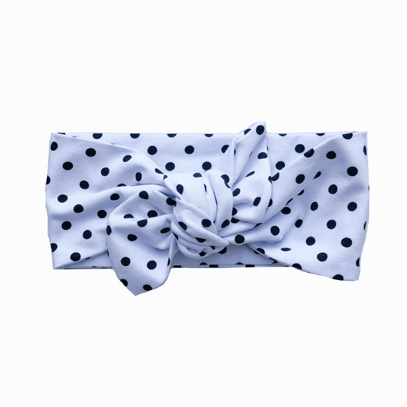 Black & White Classic Polka Dot Knot Headband (Pepper)
