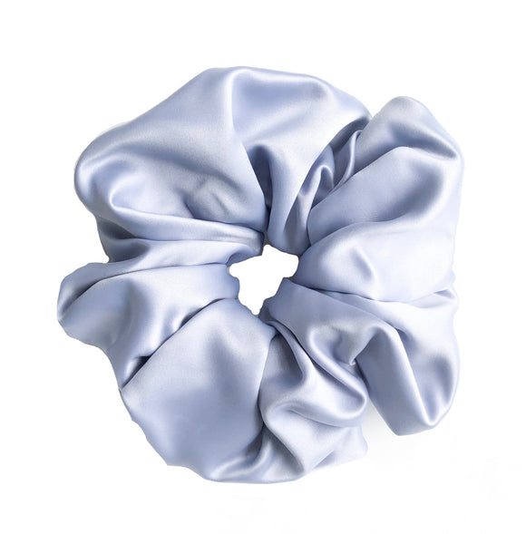 XXL Blue Satin Scrunchie