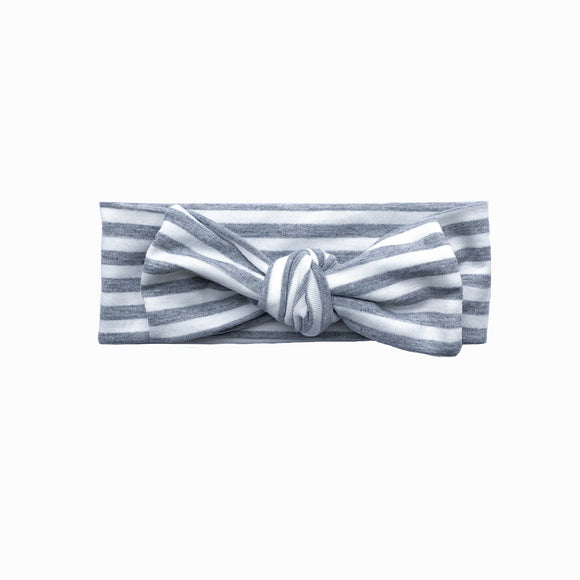 Newborn Grey & White Stripe Knot Headband