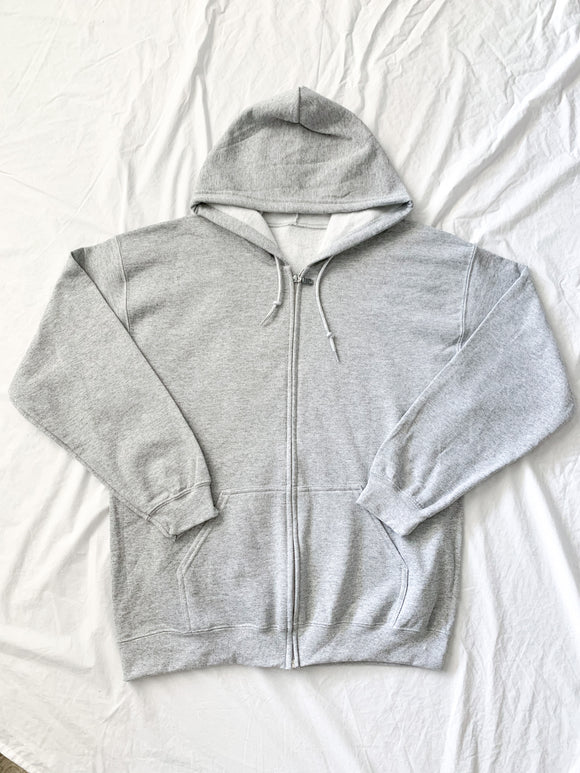 Grey Oversized Zip Up Hoodie