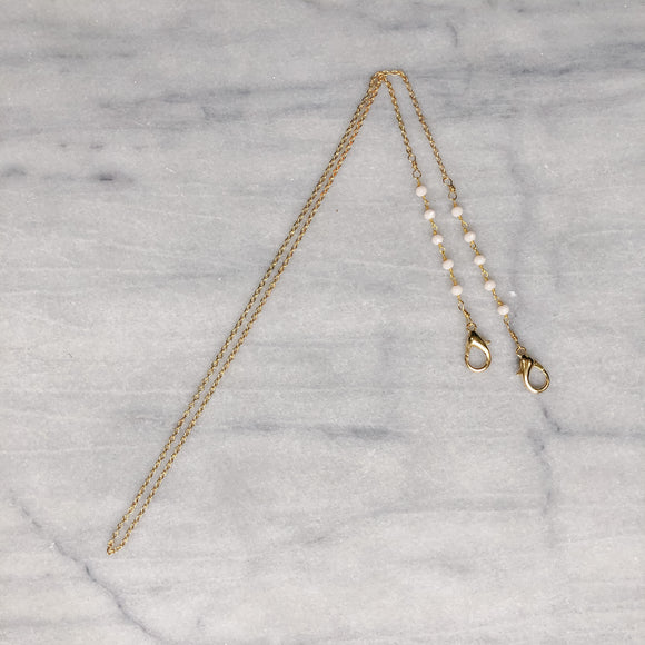 Thin Gold Chain with Gold plated Ivory Glass Mask Chain