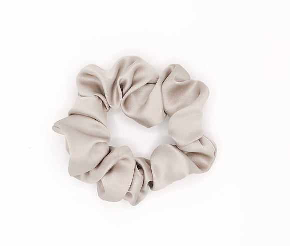 Mini Taupe Silk Scrunchie