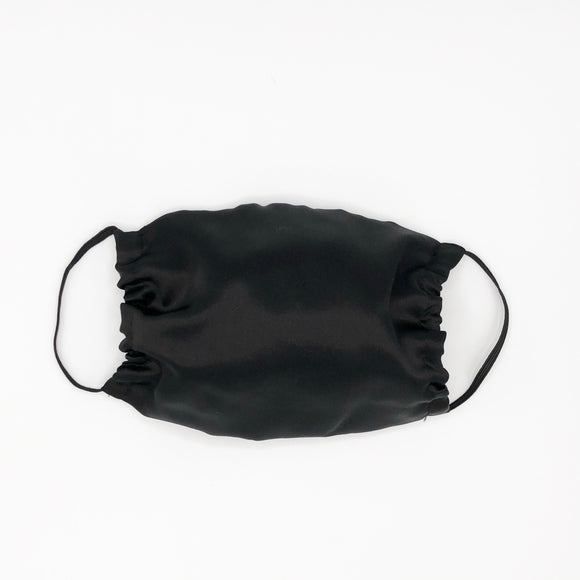 Black ADJUSTABLE Mulberry Silk Face Mask