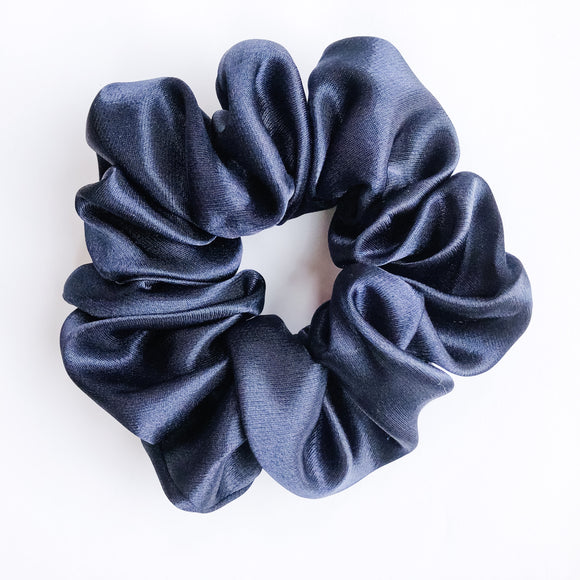 Navy Silk Sleep Scrunchie