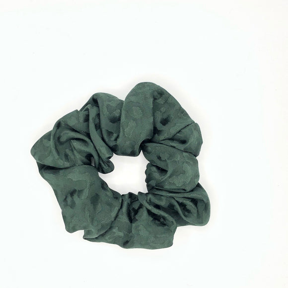 Hunter Green leopard Satin Sleep Scrunchie