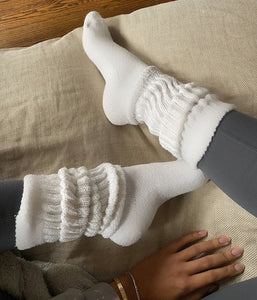 Slouchy White Cloud Socks