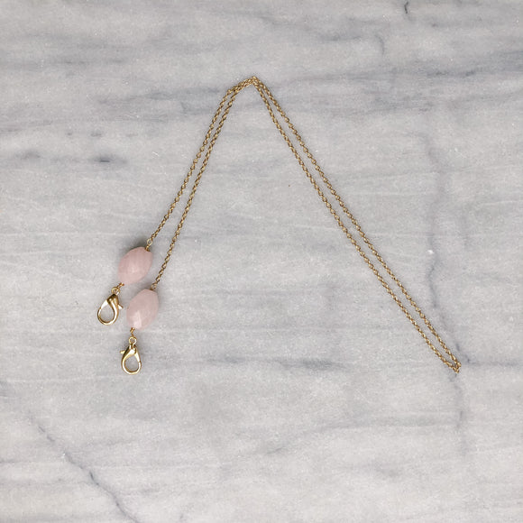 Gold chain with Rose Quartz stone