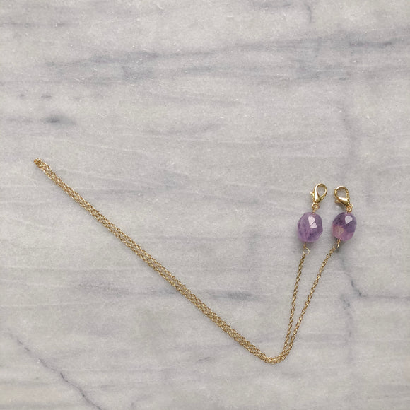 Amethyst Crystals On A Gold Chain