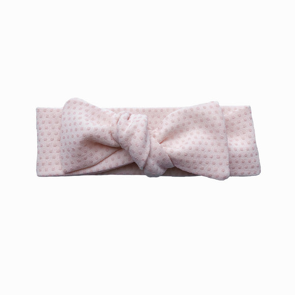 Newborn Peach Polka Dot Knot Headband