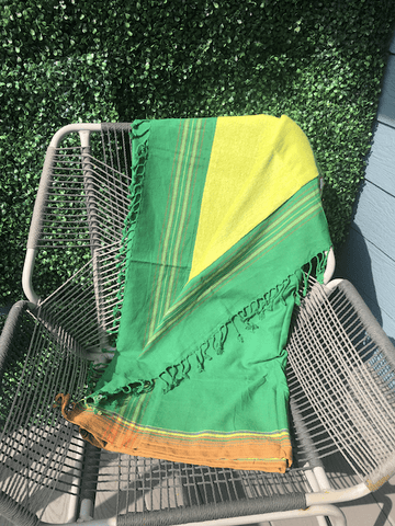 Kikoy Towel: Green with Orange edge and Lime Green terry lining - Salt and Reverie