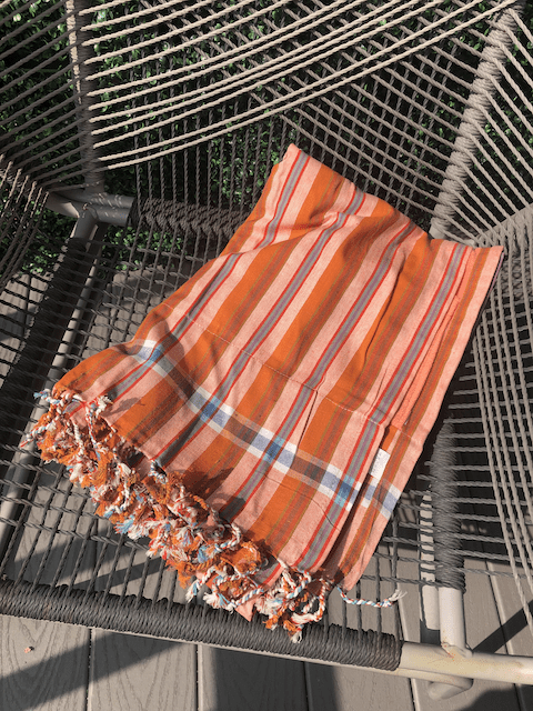 Kikoy Towel: Orange, White and Blue Stripes with Peach terry lining - Salt and Reverie