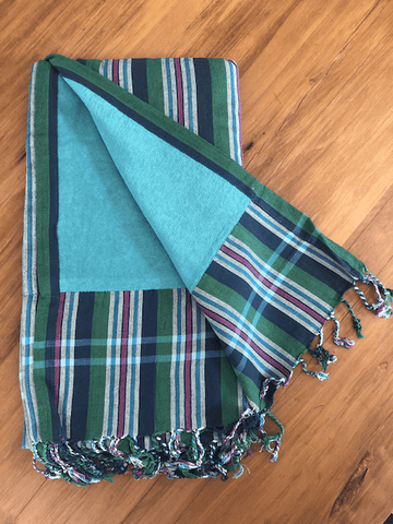 Kikoy Towel: Green/Pink/Navy stripes and Teal terry lining - Salt and Reverie