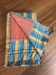 Kikoy Towel: Yellow and Turquoise Stripes with Apricot terry lining - Salt and Reverie