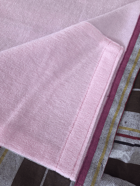 Kikoy Towel: Brown and White Stripes with Pink terry lining - Salt and Reverie