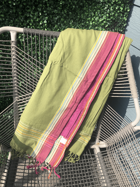 Kikoy Towel: Olive and Pink edge with Fuschia terry lining - Salt and Reverie