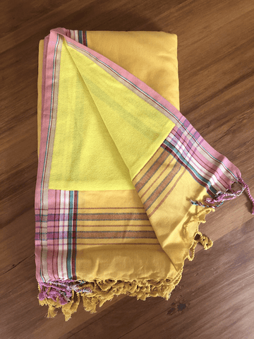 Kikoy Towel: Canary Yellow and Pink edge with Luminous Yellow terry lining - Salt and Reverie