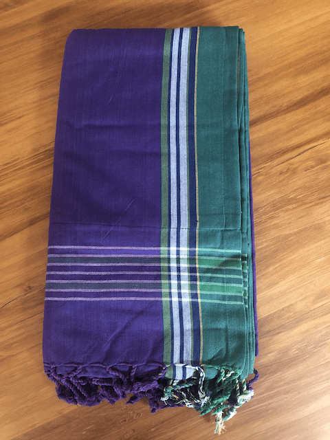 Kikoy Towel: Purple and Green with Teal or Blue terry lining - Salt and Reverie