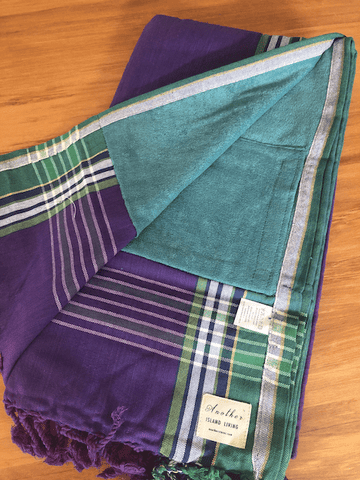 Kikoy Towel: Purple and Green with Teal terry lining - Salt and Reverie