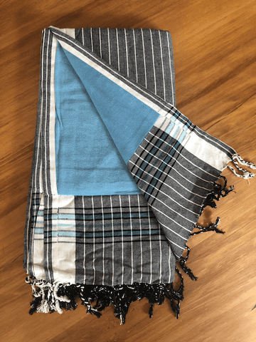 Kikoy Towel: Black and White Stripes with Turquoise terry lining - Salt and Reverie