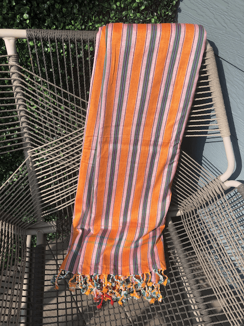 Kikoy Towel: Orange/Teal/White Stripes and Red edge with Orange terry lining - Salt and Reverie