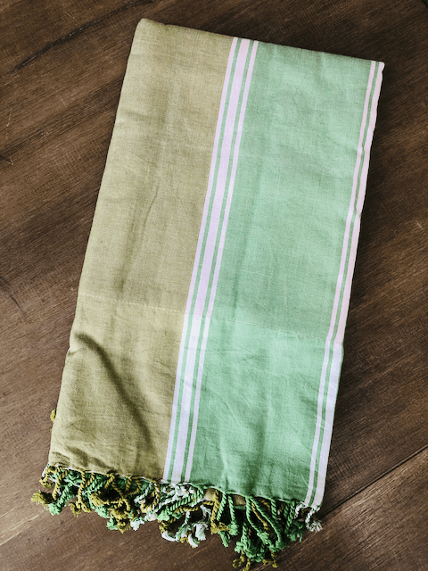 Kikoy Towel: Olive and Green with White stripes and Apricot terry lining - Salt and Reverie