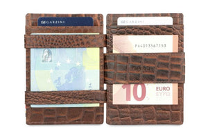 Cavare Magic Coin Wallet Card Sleeve Croco - Croco Brown - 6