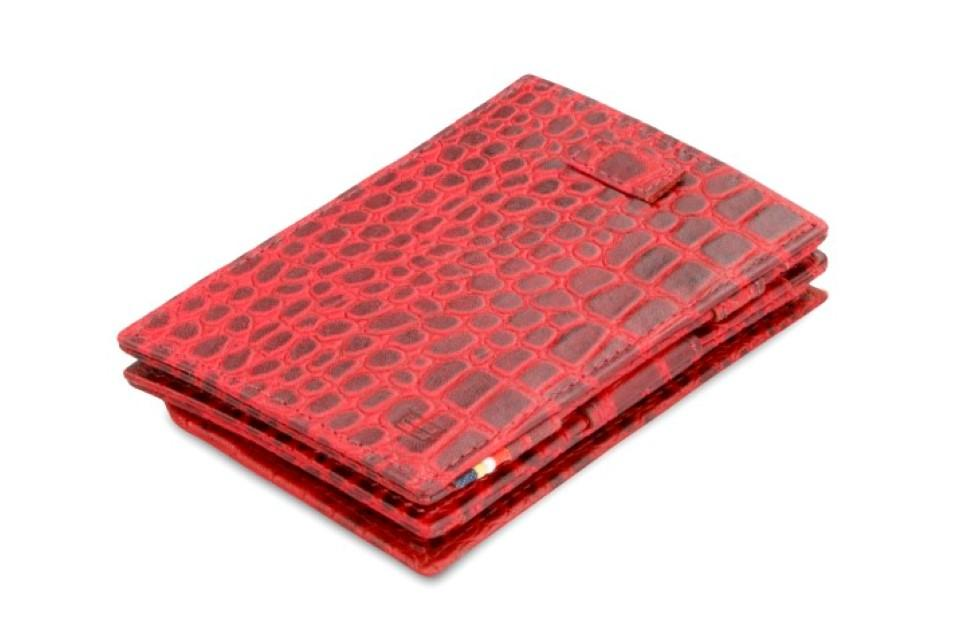 Cavare Magic Coin Wallet Card Sleeve Croco - Croco Burgundy - 1