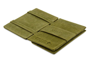 Cavare Magic Coin Wallet Card Sleeve Vintage - Olive Green - 3