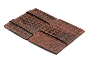 Cavare Magic Wallet Card Sleeves Croco - Croco Brown - 3