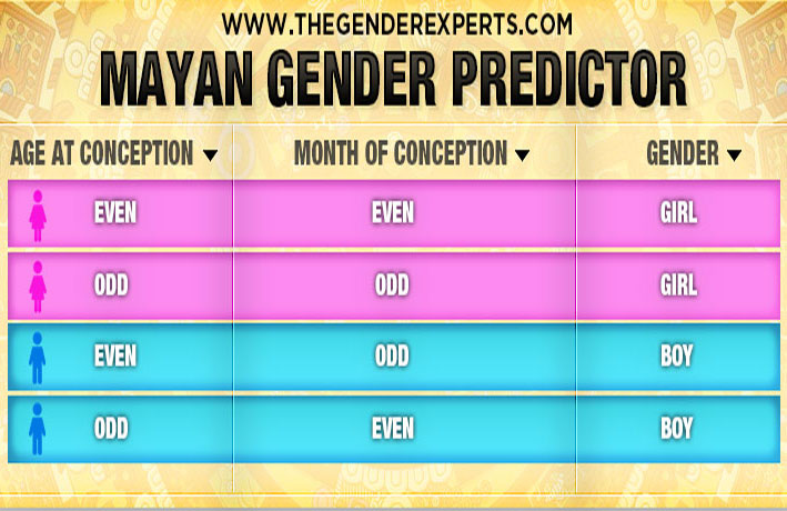 Mayan Gender Calendar 2021 Gender Charts & Calculators   Use Accurate Gender Prediction Tools