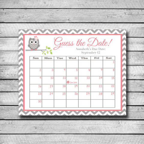 Baby Due Date Calendar Game