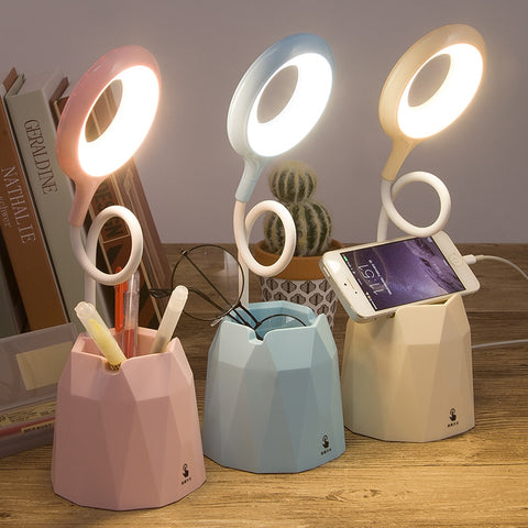 4000mah Rechargeable Led table Touch Lamp Desk lamps With phone holder Pen holder