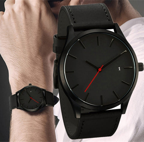 2019 Men Quartz Watch  Military Sport Wristwatch Leather Strap