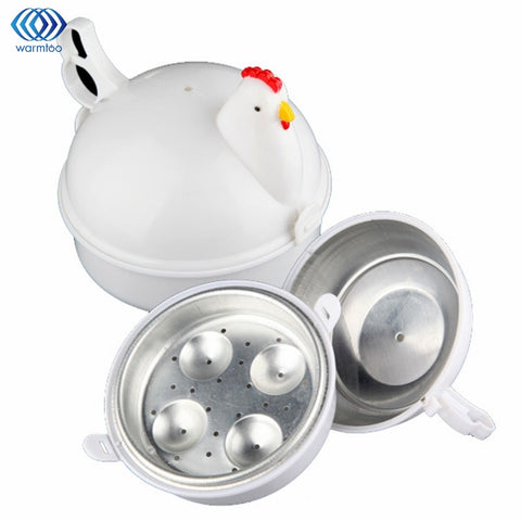 Kitchen Eggs Steamer Chicken Shaped Microwave 4 Egg Boiler