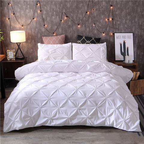 White Duvet Cover Set Pinch Pleat Bedclothes Sets