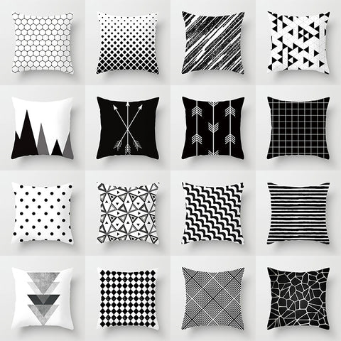 Geometric Black and White Polyester  Cushion Cover